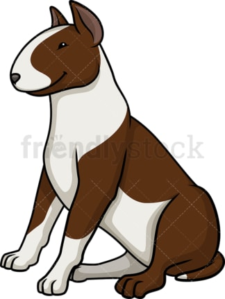 Obedient bull terrier sitting. PNG - JPG and vector EPS (infinitely scalable).