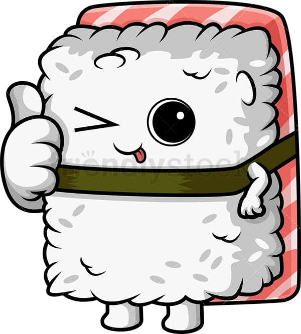 Sushi character winking. PNG - JPG and vector EPS (infinitely scalable).