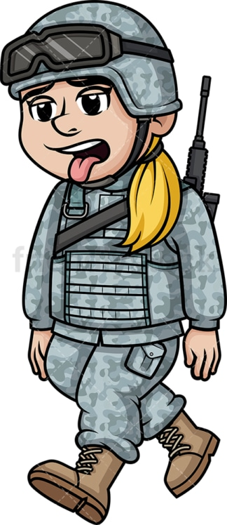 Tired female soldier. PNG - JPG and vector EPS (infinitely scalable). Image isolated on transparent background.