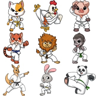 Animals doing karate. PNG - JPG and vector EPS file formats (infinitely scalable).