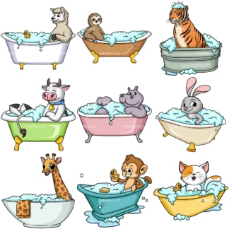 Animals in bathtubs. PNG - JPG and vector EPS file formats (infinitely scalable).