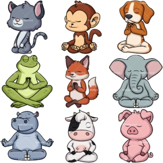Animals meditating. PNG - JPG and vector EPS file formats (infinitely scalable).