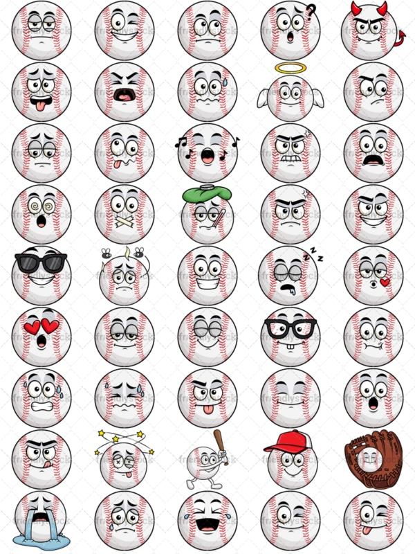 Baseball emoticons bundle. PNG - JPG and vector EPS file formats (infinitely scalable). Images isolated on transparent background.