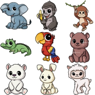 Chibi kawaii animals. PNG - JPG and vector EPS file formats (infinitely scalable).