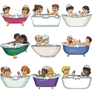 Couples in bathtubs. PNG - JPG and vector EPS file formats (infinitely scalable).
