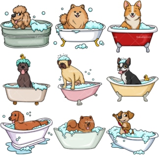 Dogs in bathtubs. PNG - JPG and vector EPS file formats (infinitely scalable). Image isolated on transparent background.