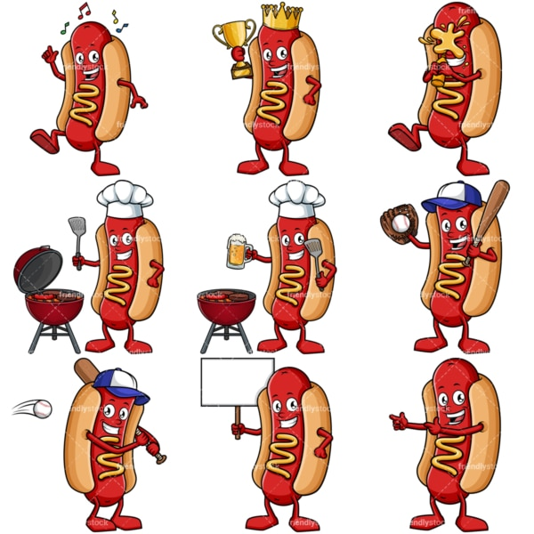Hot dog mascot collection. PNG - JPG and vector EPS file formats (infinitely scalable).