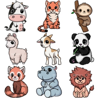 Kawaii animals collection 1. PNG - JPG and vector EPS file formats (infinitely scalable).