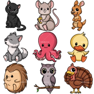 Kawaii animals collection 2. PNG - JPG and vector EPS file formats (infinitely scalable).