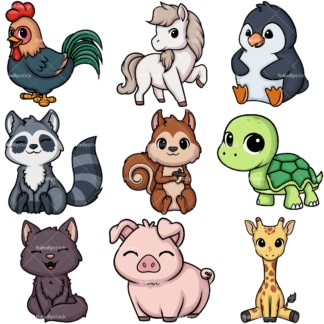 Kawaii animals collection 4. PNG - JPG and vector EPS file formats (infinitely scalable).