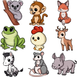 Kawaii animals collection 5. PNG - JPG and vector EPS file formats (infinitely scalable).