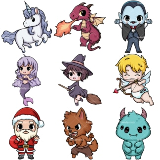 Kawaii fictional characters. PNG - JPG and vector EPS file formats (infinitely scalable).