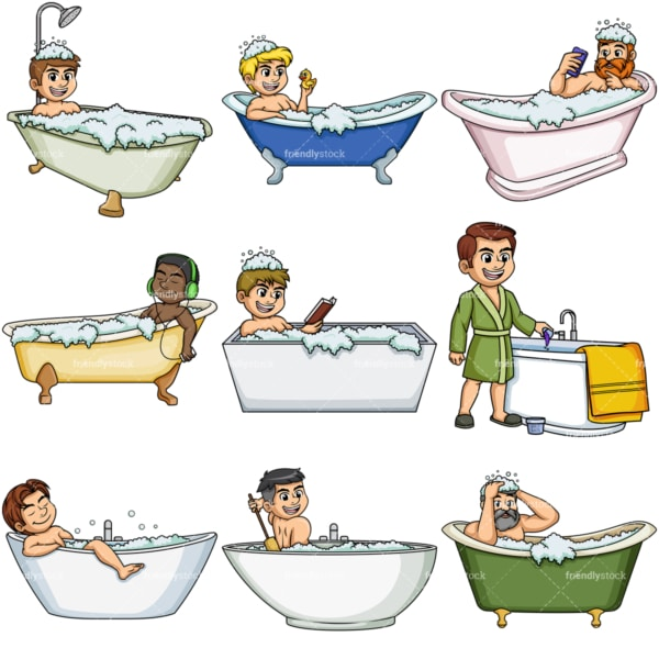 Men in bathtubs. PNG - JPG and vector EPS file formats (infinitely scalable).