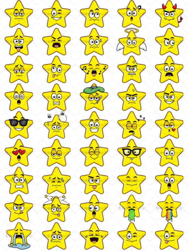 Star emoticons bundle. PNG - JPG and vector EPS file formats (infinitely scalable). Images isolated on transparent background.