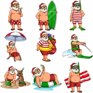 Summer santa claus. PNG - JPG and vector EPS file formats (infinitely scalable).