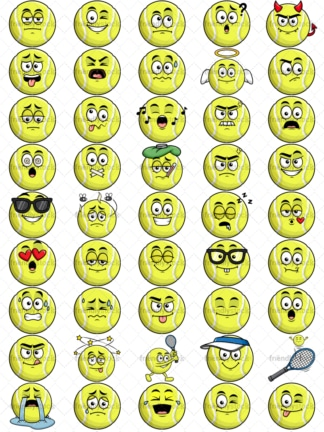 Tennis ball emoticons bundle. PNG - JPG and vector EPS file formats (infinitely scalable). Images isolated on transparent background.