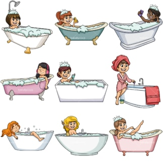 Women in bathtubs. PNG - JPG and vector EPS file formats (infinitely scalable).