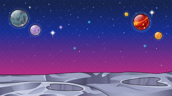 Barren alien world space background in 16:9 aspect ratio. PNG - JPG and vector EPS file formats (infinitely scalable).