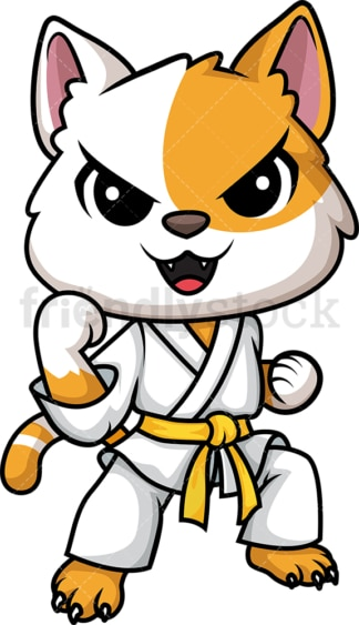 Cat doing karate. PNG - JPG and vector EPS (infinitely scalable).