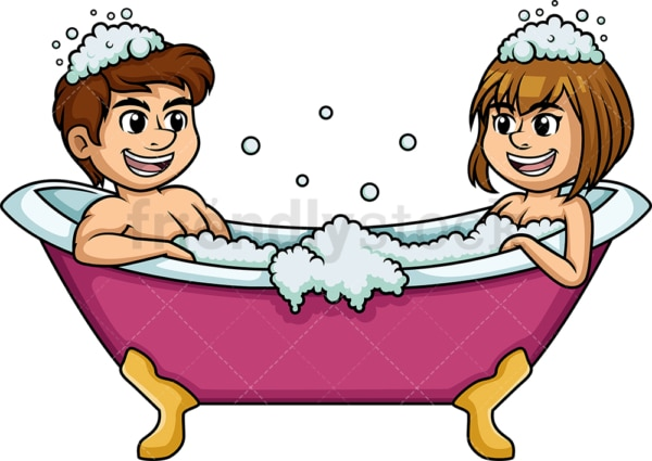 Caucasian couple having a bath. PNG - JPG and vector EPS (infinitely scalable).
