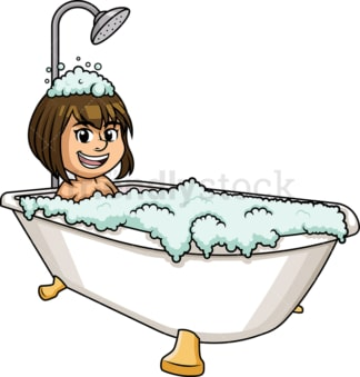 Caucasian woman having a bath. PNG - JPG and vector EPS (infinitely scalable).