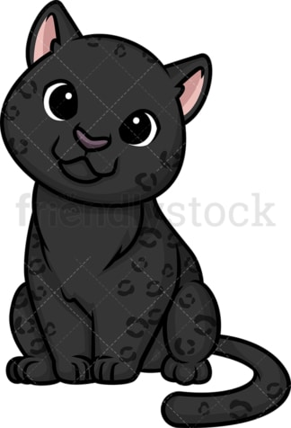 Chibi kawaii black panther. PNG - JPG and vector EPS (infinitely scalable).