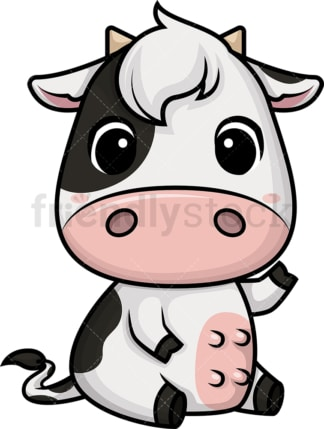 Chibi kawaii cow. PNG - JPG and vector EPS (infinitely scalable).