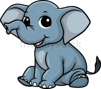 Chibi kawaii elephant. PNG - JPG and vector EPS (infinitely scalable).