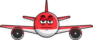 Heavy eyes airplane emoticon. PNG - JPG and vector EPS file formats (infinitely scalable). Image isolated on transparent background.
