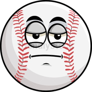 Heavy eyes baseball emoticon. PNG - JPG and vector EPS file formats (infinitely scalable). Image isolated on transparent background.