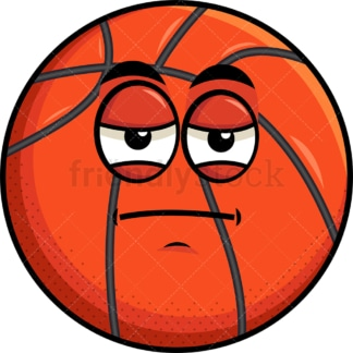 Heavy eyes basketball emoticon. PNG - JPG and vector EPS file formats (infinitely scalable). Image isolated on transparent background.