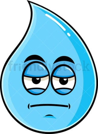 Heavy eyes raindrop emoticon. PNG - JPG and vector EPS file formats (infinitely scalable). Image isolated on transparent background.