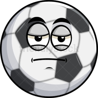 Heavy eyes soccer ball emoticon. PNG - JPG and vector EPS file formats (infinitely scalable). Image isolated on transparent background.