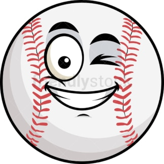 Winking and smiling baseball emoticon. PNG - JPG and vector EPS file formats (infinitely scalable). Image isolated on transparent background.