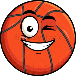 Winking and smiling basketball emoticon. PNG - JPG and vector EPS file formats (infinitely scalable). Image isolated on transparent background.