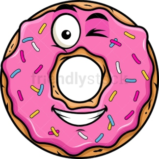 Winking and smiling donut emoticon. PNG - JPG and vector EPS file formats (infinitely scalable). Image isolated on transparent background.
