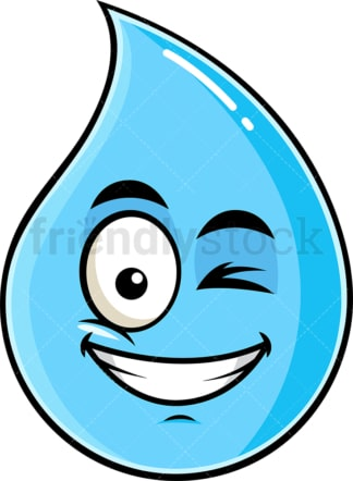 Winking and smiling raindrop emoticon. PNG - JPG and vector EPS file formats (infinitely scalable). Image isolated on transparent background.