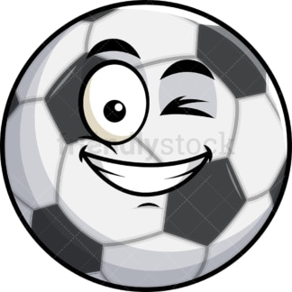 Winking and smiling soccer ball emoticon. PNG - JPG and vector EPS file formats (infinitely scalable). Image isolated on transparent background.