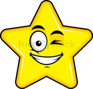 Winking and smiling star emoticon. PNG - JPG and vector EPS file formats (infinitely scalable). Image isolated on transparent background.