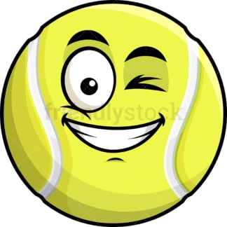Winking and smiling tennis ball emoticon. PNG - JPG and vector EPS file formats (infinitely scalable). Image isolated on transparent background.