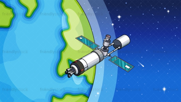Space station in orbit background in 16:9 aspect ratio. PNG - JPG and vector EPS file formats (infinitely scalable).