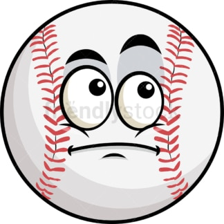 Wondering baseball emoticon. PNG - JPG and vector EPS file formats (infinitely scalable). Image isolated on transparent background.