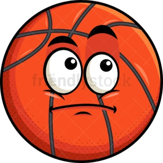 Wondering basketball emoticon. PNG - JPG and vector EPS file formats (infinitely scalable). Image isolated on transparent background.