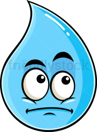 Wondering raindrop emoticon. PNG - JPG and vector EPS file formats (infinitely scalable). Image isolated on transparent background.