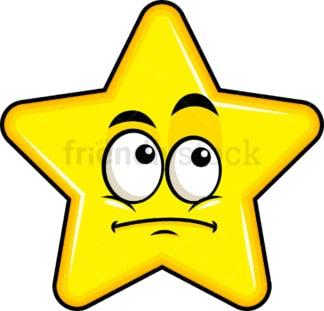 Wondering star emoticon. PNG - JPG and vector EPS file formats (infinitely scalable). Image isolated on transparent background.