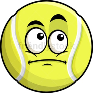 Wondering tennis ball emoticon. PNG - JPG and vector EPS file formats (infinitely scalable). Image isolated on transparent background.