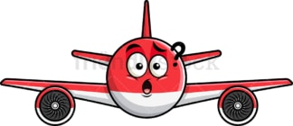 Confused airplane emoticon. PNG - JPG and vector EPS file formats (infinitely scalable). Image isolated on transparent background.