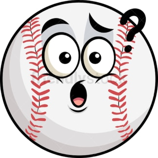 Confused baseball emoticon. PNG - JPG and vector EPS file formats (infinitely scalable). Image isolated on transparent background.