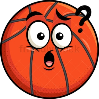 Confused basketball emoticon. PNG - JPG and vector EPS file formats (infinitely scalable). Image isolated on transparent background.