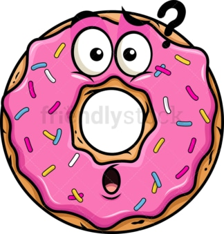 Confused donut emoticon. PNG - JPG and vector EPS file formats (infinitely scalable). Image isolated on transparent background.